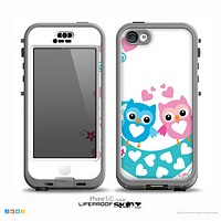 The WHite & Pink & Blue Vector Love Birds Skin for the iPhone 5c nüüd LifeProof Case