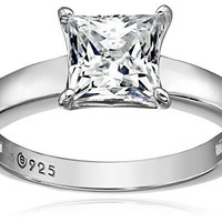 Platinum-Plated Sterling Silver Swarovski Zirconia Princess-Cut Solitaire Ring (1 cttw), Size 5