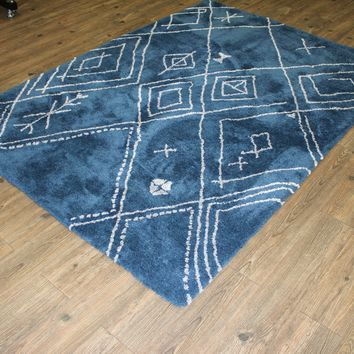 Blue/White Shag Area Rug Gray/White Modern Design - Exact Size 5' X 7'