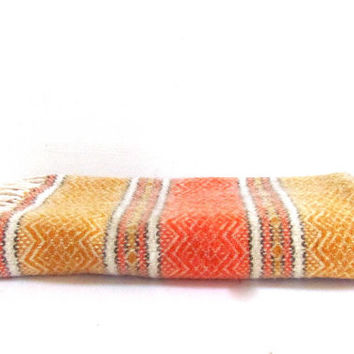 Vintage orange and yellow Striped Ethnic small Lap Blanket