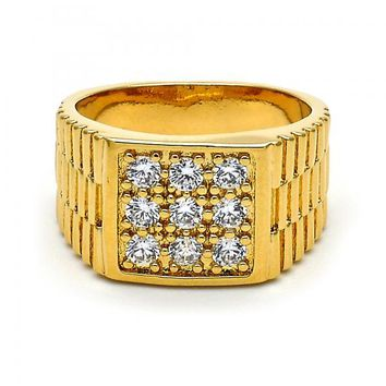 Gold Layered Mens Ring, with Cubic Zirconia, Gold Tone