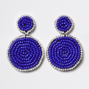 Blue seedbead circle drop earrings - Earrings - Jewellery - women