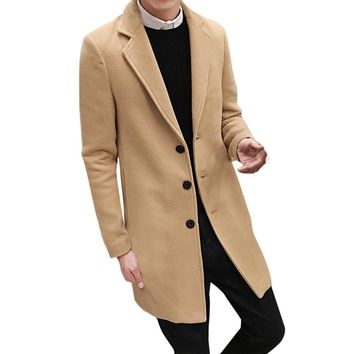 Men Formal Single Breasted Figuring Overcoat Long Wool Jacket Turn-down Collar Solid Outwear Autumn Winter Button Cotton Jacket