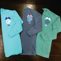 Big/Little/GBig Bow Sorority Monogram Comfort Colors Long Sleeve T-Shirt