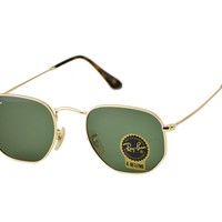 Ray-Ban RB3548N Hexagonal Flat Lenses 001 Gold Frame/Green Classic G-15 Lenses