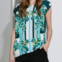 Dark Green Floral Print Asymmetric Short Sleeve Blouse