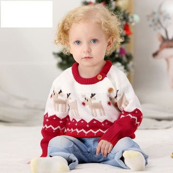 Christmas Baby Sweaters For Girls Winter Toddler Boys Sweater Girl Clothes O-neck girl trui Deer Snow WUA810244