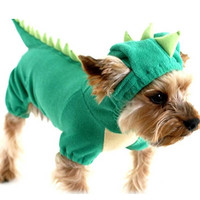 Puppy Dog Pet Halloween Dinosaur Costume Waterproof Coat Green Coat Outfits Jumper Apparel Clothes Free Shipping