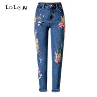 LOLEN Fashion Women's 3D Embroidered Jeans Straight Slim Pants
