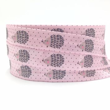 New Arrival Hedgehog Flamingo Print Fold Over Elastic16mm FOE Elastic Ribbon DIY Sewing Headwear Accessories 10Yards
