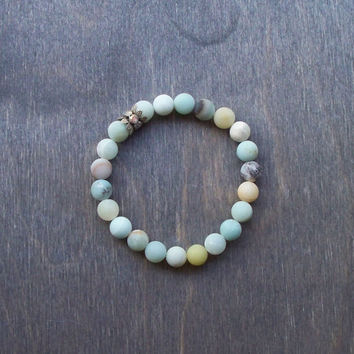 Stretch bracelet, rustic matte Amazonite semi precious beads, crystal rondel, stacking bracelet, Boho hippy, tassel jewelry