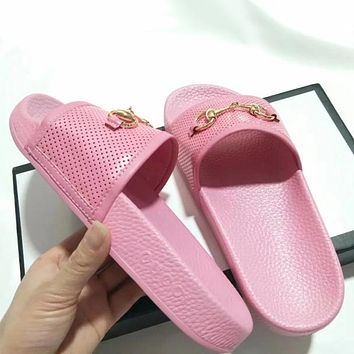 GUCCI Women Leather Fashion Slipper Sandals Shoes