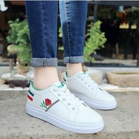 Women Fashion All-match Casual Plate Shoes Embroidery Flower Multicolor Stripe Small White Shoes Sneakers