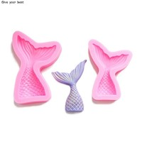 Mermaid Tail Silicone Mold Fondant Cake Mold Cupcake Decorating Tools Kitchen Baking Gum Paste Chocolate Candy Molds