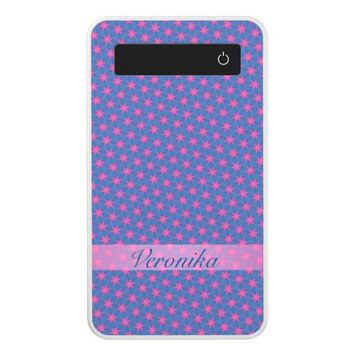 Pink stars on a blue background. Add name. Power Bank
