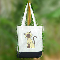 Animal tote bag Siamese cat breed 2 size Two tone off-white/black , shopping tote bag, printed tote bags