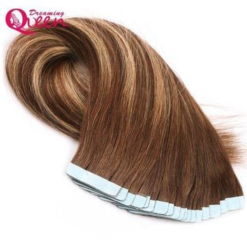CREY78W #4/27/4 Color Tape In Human Hair Extensions Brazilian Straight Hair 50g 20pcs/Set Skin Weft Remy Hair Dreaming Queen Hair