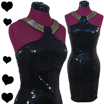 Dress Vintage 80s Black SEQUIN Gold BEADED Collar Prom PARTY Dress S M Wiggle Body Con