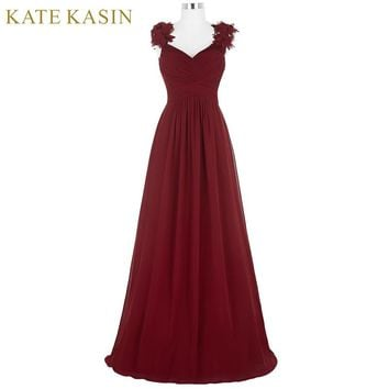 Flower Cap Sleeve Long Prom Dresses Graduation Evening Party Dresses Chiffon Burgundy Prom Dress