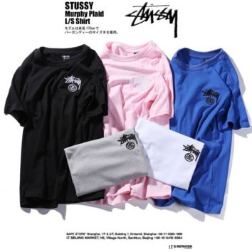 Casual Unisex Stussy Print Cotton Short Sleeve T Shirt