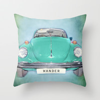 Wander Old Beetle. Green  Vintage Volkswagen Throw Pillow by Guido Montañés