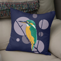 «Kingfisher on a bough», Numbered Edition Coussin by Savousepate - From 25€ - Curioos