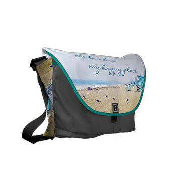 """Happy place"" quote aqua beach photo messenger bag"