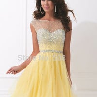 2016 Yellow Short Mini Cocktail Dress Chiffon Beading Sequined Crystal Formal robe de Cocktail Party Dress cocktailkleid
