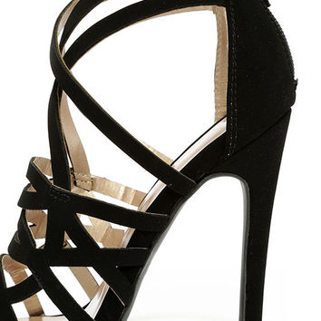 One More Song Black Nubuck Caged Heels