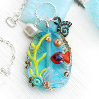Fish Pendant, Beach Jewelry, Aqua blue glass pendant, Beach necklace, Coral Reef, SRA Lampwork, Fish Jewelry
