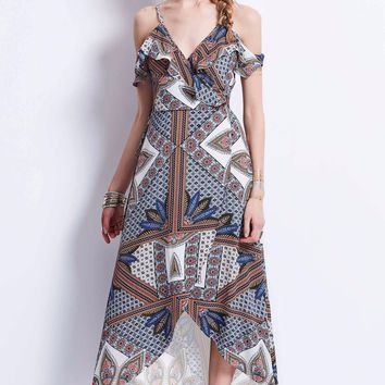 B| Chicloth Blue Spaghetti Strap Geometric Pattern Backless Maxi Dress
