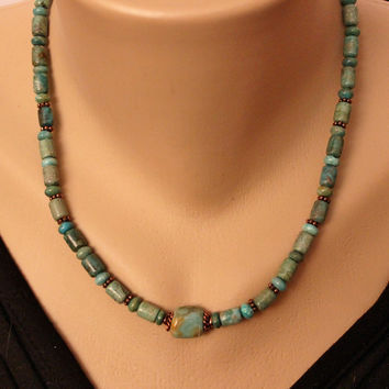 Men's or Women's  Green Turquoise and Copper Necklace