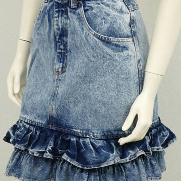 "Vintage 80s Acid Wash Denim Skirt, High Waist Skirt, Blue Jean Skirt, Ruffle Skirt, Pencil Skirt, Fitted Skirt, Knee Length Skirt 26"" Waist"