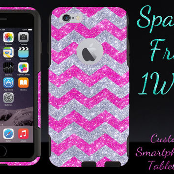 "OtterBox Commuter Series Case for 4.7"" iPhone 6 - Custom Glitter Case for 4.7"" iPhone 6 - Silver Small Chevron Hot Pink/Black"