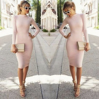 Women High collar Sexy bandage Bottoming Dress = 1956799812