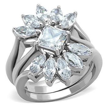 WildKlass Stainless Steel Ring High Polished (no Plating) Women Grade Six CZ Clear