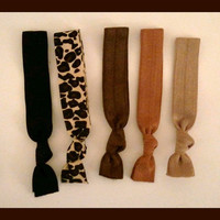 5 Elastic HAIR TIES, ANIMAL Print, Leopard, Browns, Tans Neutrals -No Tug, Dent, Gifts for Teen