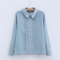 Women Blouse 2017 Fashion Autumn Casual Long Sleeves Cotton Peter Pan Collar Button White Blue Embroidery Womans Shirts T77714A