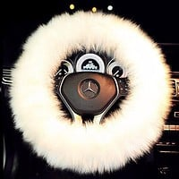 Faux Fur Steering Wheel Cover Set