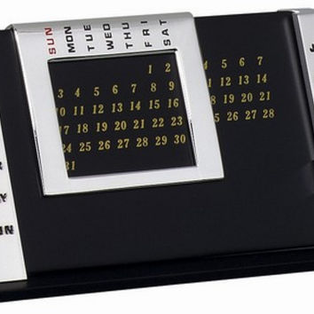TABLE CALENDAR SILVER: Card Holder With Desk Clock