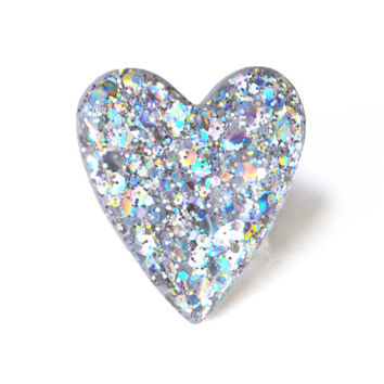 Holiday Hologram Limited Edition Glitter Ring Jewelry // Silver, Holo, Pastel, Rainbow, Metallic, Kawaii, Indie, Large, Gifts, Heart, Ring