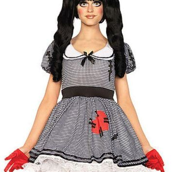 The 3pc. Wind Me Up Dolly Dress W/silver Turn Key Bow Headband In Black And White