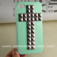 Studded Iphone 4 Case, Cross Silver pyramid studs Light Green IPHONE 4S Case----for Apple iPhone Case 4, iPhone Case 4s, iPhone 4 Hard Case