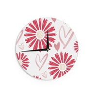 "Alison Coxon ""Hearts And Flowers"" Love Pink Wall Clock"