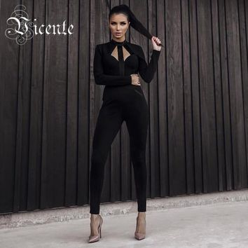 Free Shipping 2017 New Chic Hollow Cut Out Backless Long Sleeves Women Celebrity Party Bodysuit Wholesale Bandage Jumpsuit