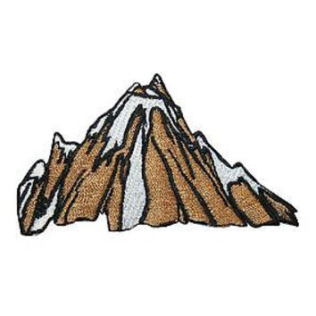 ID #3136 Mountain Profile Vista Embroidered Iron On Badge Applique Patch