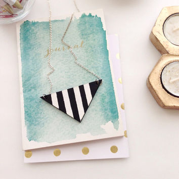 Black and White Striped Necklace/Triangle Necklace/Black and White Necklace