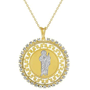 """18k Gold Plated St Jude Necklace Pendant Medal Religious Catholic 19"""""""