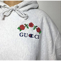 Gucci x Champion Flower Rose Embroidery Top Sweater Sweatshirt Hoodie