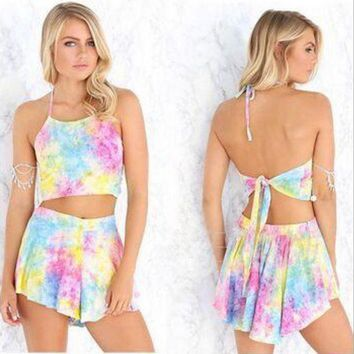 CREYCY2 Rainbow printing Sling Backless Rompers Sets